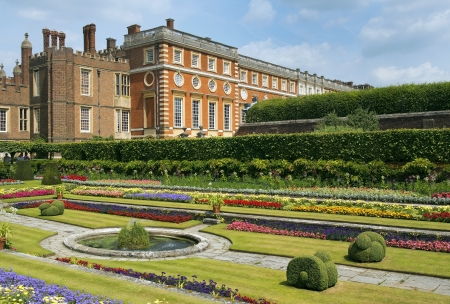 Hampton Court Palace, a magnificent example of landscape and gardening design, London, UK