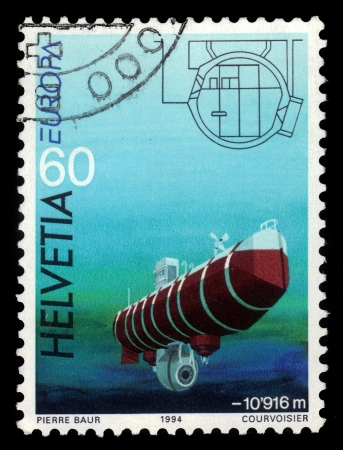 jacques: SWITZERLAND - CIRCA 1994  A stamp printed in Switzerland, shows research vehicles of August and Jacques Piccard, bathyscaphe trieste, circa 1994