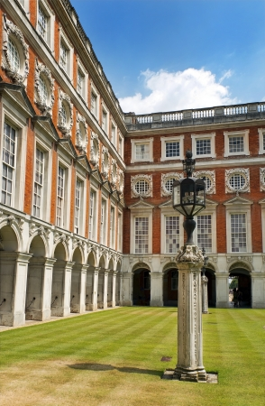 courtyard, Hampton Court Palace is a royal palace in the London Borough of Richmond upon Thames, Greater London, UK