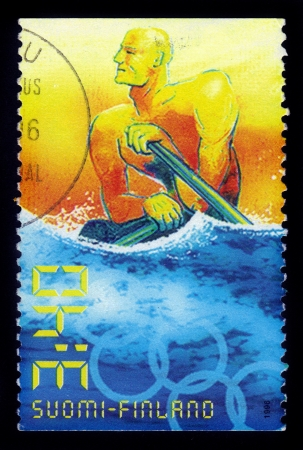 FINLAND - CIRCA 1996  A stamp printed by Finland, shows summer olympic games atlanta - rowing, circa 1996