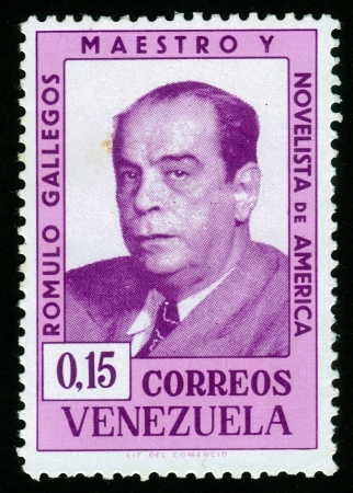 VENEZUELA - CIRCA 1964  A stamp printed in Venezuela showing a portrait of Romulo Gallegos, teacher and novelist, circa 1964