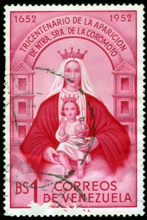 landlady: VENEZUELA - CIRCA 1952  A stamp printed in Venezuela shows Our Lady of Coromoto, patron saint of Venezuela, circa 1952