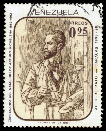 arturo: VENEZUELA - CIRCA 1963  A stamp printed in Venezuela showing a portrait of Arturo Michelena, venezuelan painter, circa 1963