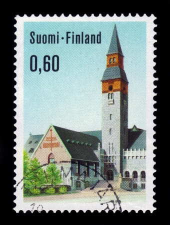 FINLAND - CIRCA 1973  A stamp printed in Finland shows National Museum of Helsinki  Suomen kansallismuseo , Finland , circa 1973