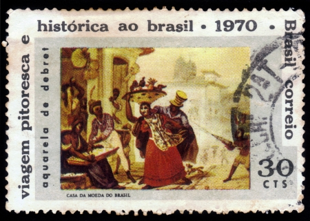 BRAZIL-CIRCA 1970 A stamp printed in BRAZIL shows  slaves, painting by Jean Baptiste Debret  1768-1848 , circa 1970