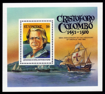 SAINT VINCENT - CIRCA 1992  stamp printed in Saint Vincent, shows a Christopher Columbus and  Santa Maria, flagship of columbus s fleet, 500th Anniversary of the Discovery of America, circa 1992