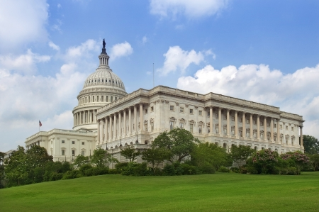 white house: green lawn behind the Capitol building, Washington DC, USA Stock Photo