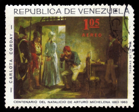 arturo: VENEZUELA - CIRCA 1963  A stamp printed in Venezuela showing painting by  venezuelan painter Arturo Michelena, Charlotte Corday way to the gallows, circa 1963 Editorial