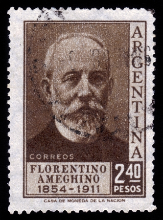 anthropologist: ARGENTINA - CIRCA 1956  a stamp printed in the Argentina shows Florentino Ameghino, was an Argentine naturalist, paleontologist, anthropologist and zoologist , circa 1956