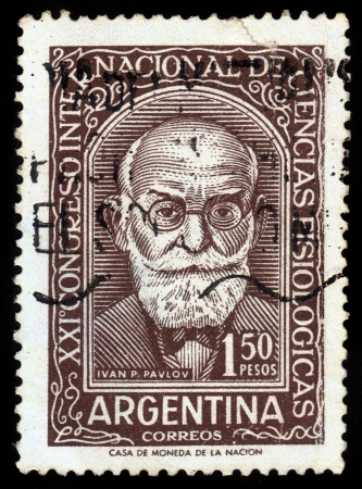 laureate: ARGENTINA - CIRCA 1959  a stamp printed in the Argentina shows Ivan Petrovich Pavlov, russian physiologist and nobel laureate, circa 1959