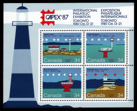 CANADA - CIRCA 1987  A stamp printed by Canada, shows lighthouses  Sisters Islets  Pelee Passage  Haut-fond Prince  Rose Blanche, philatelic exhibition Capex 87, circa 1987 Editorial