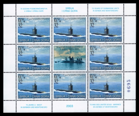 Serbia and Montenegro -CIRCA 2003 A stamp printed in Serbia and Montenegro shows submarines, circa 2003