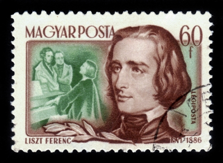 liszt: HUNGARY- CIRCA 1953  stamp printed in Hungary, shows portrait Franz Liszt, hungarian composer, virtuoso pianist, conductor, circa 1953