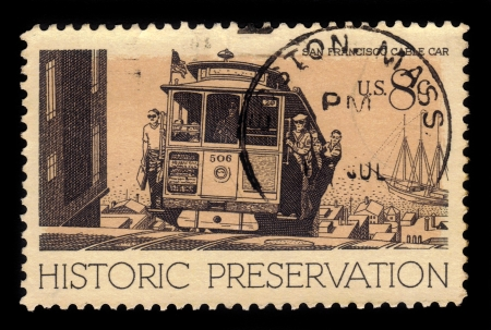 UNITED STATES - CIRCA 1971  A stamp printed in USA, shows Cable Car, San Francisco, series Historic Preservation Issue, circa 1971