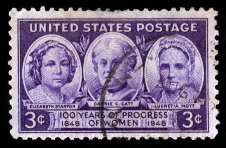 abolitionist: UNITED STATES OF AMERICA - CIRCA 1948  A stamp printed in the USA shows Elisabeth Stanton, Carrie Catt and Lucretia Mott,   100 years of progress of Women 1848-1948 , circa 1948