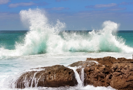 Sea waves crashing against the rocks, Tantura nature reserve, northern Israel
