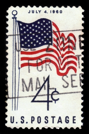 u s  flag: UNITED STATES OF AMERICA - CIRCA 1960  A stamp printed in USA shows U S  Flag, with inscription  July 4, 1960 , series  America, 50 - Star Flag Issue , circa 1960