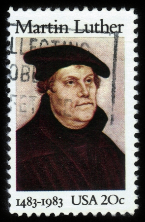reformation: USA - CIRCA 1983  A stamp printed in United States of America shows Martin Luther was a German priest and professor of theology who initiated the Protestant Reformation, circa 1983
