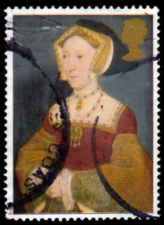viii: UNITED KINGDOM - CIRCA 1997  A stamp printed in Great Britain shows Jane Seymour, wife of Henry VIII, series, circa 1997 Editorial