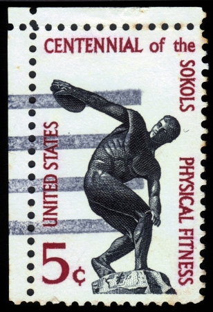 USA - CIRCA 1965  stamp printed by USA, shows statue of a discus thrower that stands near State Department in Washington, for centenary of founding of Sokol  athletic  organization in US, circa 1965