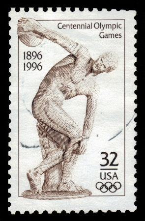 UNITED STATES - CIRCA 1996  stamp printed by United states, shows Discus Thrower, roman marble copy of the original bronze statue sculptured by Myron, circa 450 BC, circa 1996