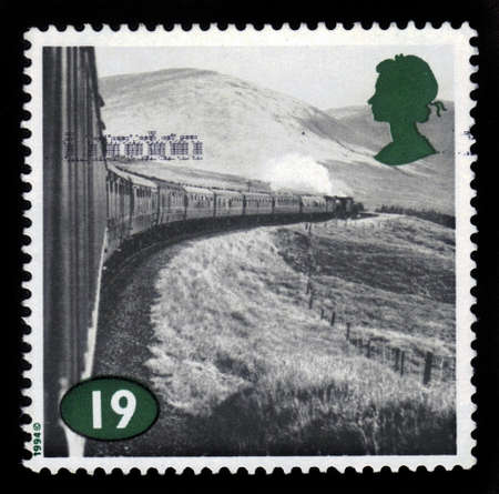 UNITED KINGDOM - CIRCA 1994  A stamp printed in United Kingdom shows Dampflokomotive, railway photographs by Colin Gifford, from series  The Age of Steam , circa 1994