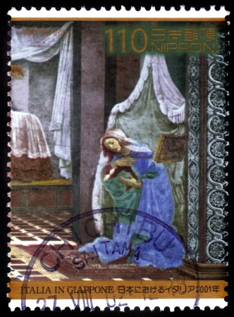 Japan - CIRCA 2001  stamp printed by Japan, shows fragment of the picture Sandro Botticelli  Annunciation , circa 2001