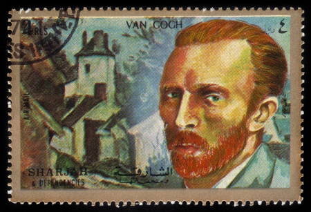 SHARJAH and DEPENDENCIES - CIRCA 1972  A stamp printed in Shiarjah and Dependencies shows Vincent Willem van Gogh  1853-1890 , circa 1972 Editorial