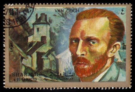 SHARJAH and DEPENDENCIES - CIRCA 1972  A stamp printed in Shiarjah and Dependencies shows Vincent Willem van Gogh  1853-1890 , circa 1972 新聞圖片