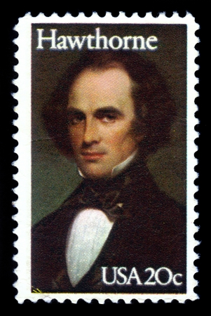 UNITED STATES - CIRCA 1983  a stamp printed in USA shows portrait of Nathaniel Hawthorne, was an american novelist, circa 1983