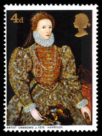 GREAT BRITAIN - CIRCA 1968  a stamp printed in the Great Britain shows  portrait of Queen Elizabeth I by artist unknown, circa 1968