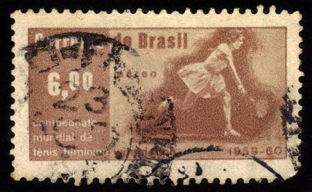 esther: BRAZIL - CIRCA 1960  a stamp printed in the Brazil shows Maria E  Bueno, Victory at Wimbledon of Maria E  Bueno, Women s Singles Tennis Champion, circa 1960 Editorial
