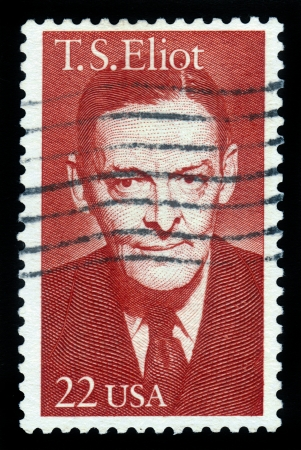 critic: USA -CIRCA 1986  A stamp printed in United States of America shows Thomas Stearns Eliot  1888-1965  poet, was an essayist, publisher, playwright, literary and social critic, circa 1986