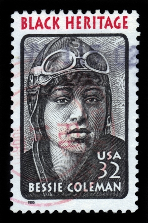 UNITED STATES - CIRCA 1995  a postage stamp printed in USA showing an image of Elizabeth  Bessie  Coleman  January 26, 1892 � April 30, 1926  was an american civil aviator, circa 1995
