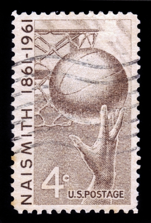 invented: UNITED STATES OF AMERICA - CIRCA 1961  a stamp printed in the USA shows Basketball, James Naismith who Invented the Game in 1891, circa 1961