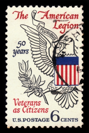 USA - CIRCA 1969  A stamp printed in United States of America shows Eagle from Great seal of U S , devoted to 50th anniversary of American Legion, circa 1969