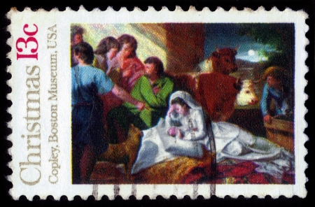 UNITED STATES OF AMERICA - CIRCA 1976 Christmas stamp printed in the USA shows draw Madonna and Child by John Copley from Boston Museum, series christmas, circa 1976