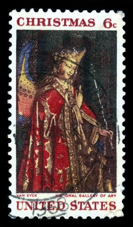 UNITED STATES - CIRCA 1968  A Christmas stamp printed by United States of America shows Angel Gabriel from The Annunciation by Jan Van Eyck from National Gallery of Art, circa 1968