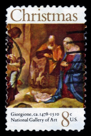 UNITED STATES OF AMERICA - CIRCA 1972  A stamp printed in USA shows painting Adoration of the Shepherds by Giorgione, series Christmas, circa 1972