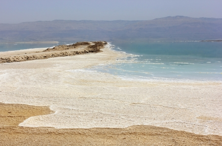 salt deposits, typical landscape of the dead sea, , Israel coast photo