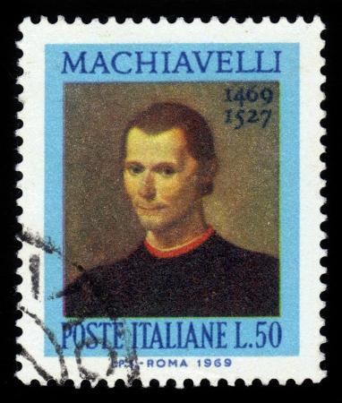 ITALIE - CIRCA 1969 timbre imprimé par l'Italie, montre Niccolo Machiavelli, était un historien italien, homme politique, diplomate, philosophe, humaniste et écrivain basé à Florence pendant la Renaissance, circa 1969 Banque d'images - 22863778