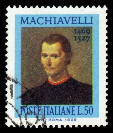 ITALY - CIRCA 1969  stamp printed by Italy, shows Niccolo Machiavelli, was an Italian historian, politician, diplomat, philosopher, humanist and writer based in Florence during the Renaissance, circa 1969 Stok Fotoğraf - 22863778