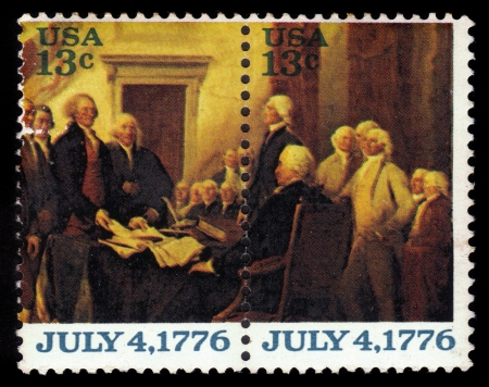 proclaimed: USA - CIRCA 1976  A stamp printed in United States of America shows USA proclaimed their independence from the British, fragment of a painting by John Trumbull, series, circa 1976