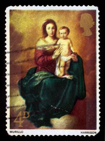murillo: GREAT BRITAIN - CIRCA 1968  A stamp printed in the Great Britain shows Madonna and Child, by Bartolome Esteban Murillo, circa 1968 Editorial