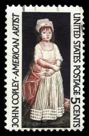 EE.UU. - CIRCA 1965 Un sello impreso en los EE.UU. muestra Elizabeth Clarke Copley, por John Singleton Copley 1738-1815, alrededor del año 1965 Foto de archivo - 22948675