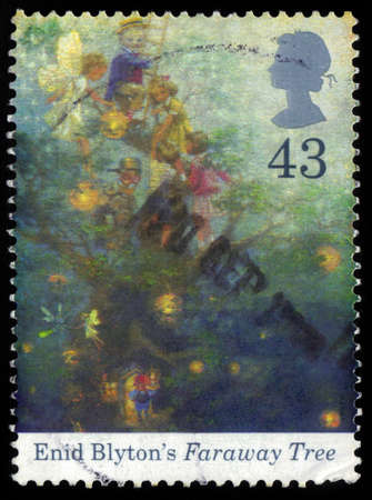UNITED KINGDOM - CIRCA 1997  A stamp printed in Great Britain shows illustration to popular novels for children by Enid Blyton, Faraway tree, birth centenary of Enid Blyton, circa 1997