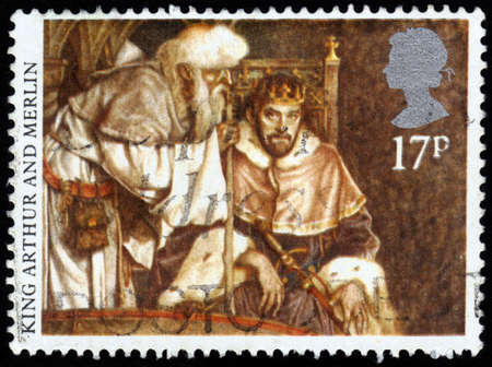 arthur: GREAT BRITAIN - CIRCA 1985  A stamp printed in UK shows image of the King Arthur and Merlin, series Arthurian Legends, circa 1985