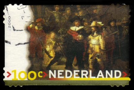 frans: NETHERLANDS - CIRCA 2000  A stamp printed in Netherlands shows painting by Rembrandt Harmenszoon van Rijn - The Night Watch, series, circa 2000