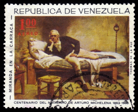 arturo: VENEZUELA - CIRCA 1963  A stamp printed in Venezuela showing painting by venezuelan painter Arturo Michelena, Miranda in the Carrack, circa 1963 Editorial