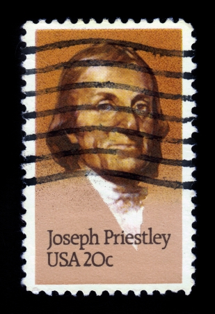 UNITED STATES OF AMERICA - CIRCA 1983  a stamp printed in the USA shows Joseph Priestley, english theologian and scientist, circa 1983